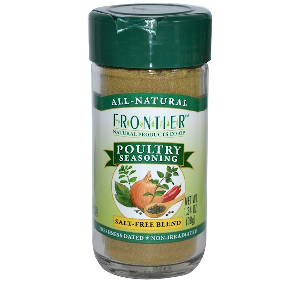 Frontier Natural Products, Poultry Seasoning, Salt-Free Blend, 1.34 oz (38 g) (Discontinued Item)