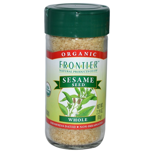 Frontier Natural Products, Organic Sesame Seed, Whole, 2.29 oz (65 g) (Discontinued Item)