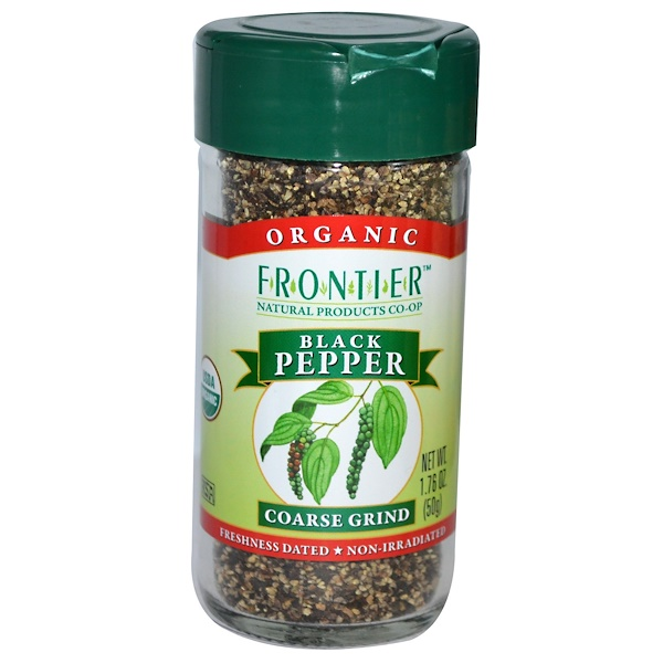 Frontier Natural Products, Organic Black Pepper, Coarse Grind, 1.76 oz (50 g) (Discontinued Item)