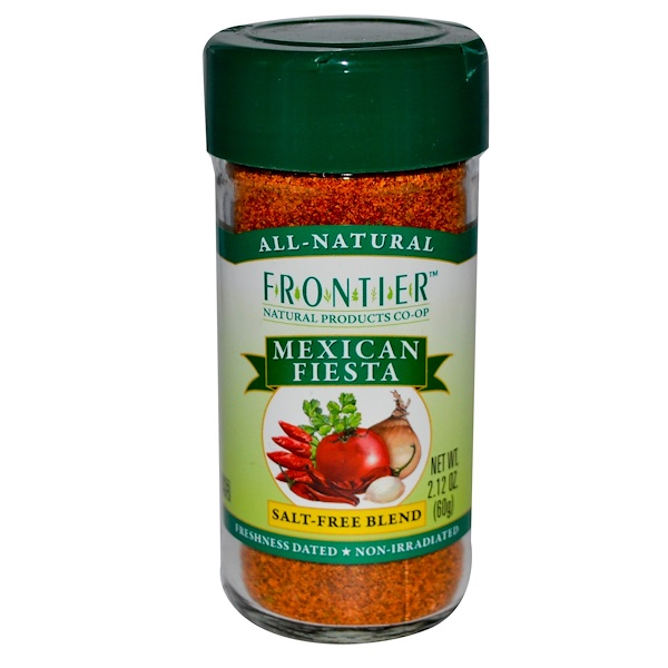 Frontier Natural Products, Mexican Fiesta, Salt-Free Blend, 2.12 oz (60 g) (Discontinued Item)