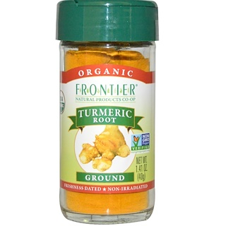Frontier Natural Products, オーガニック, ターメリックの根, 粉末状, 1.41 オンス (40 g)