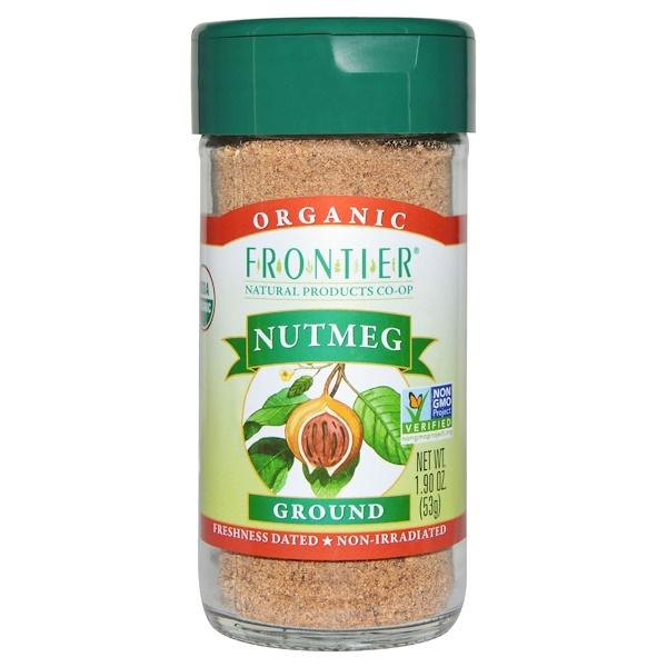 Frontier Natural Products, Органический мускатный орех молотый, 1,90 унции (53 г) (Discontinued Item)