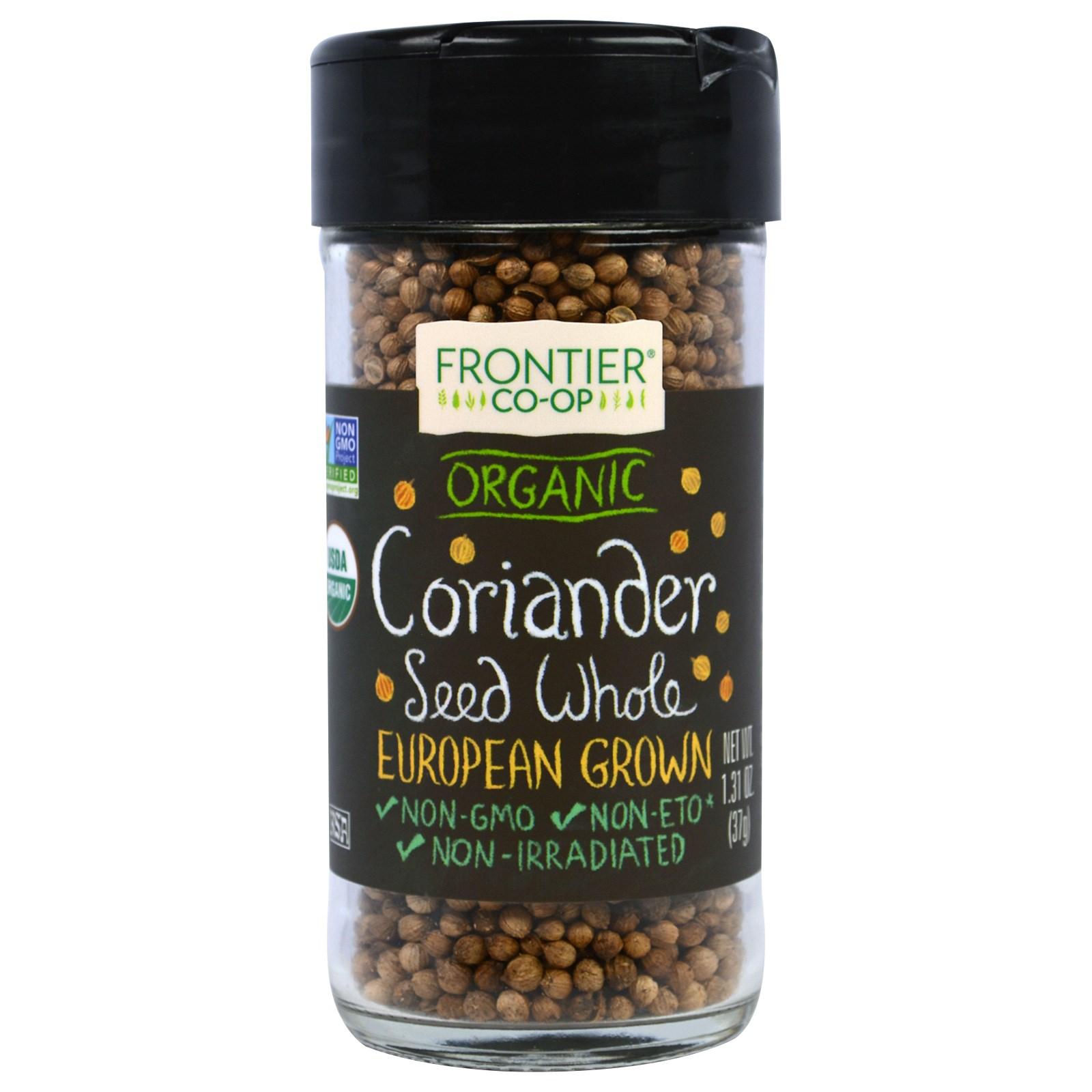 Frontier Natural Products, Органические семена кориандра цельные, выращено в Европе, 1,31 унции (37 г)