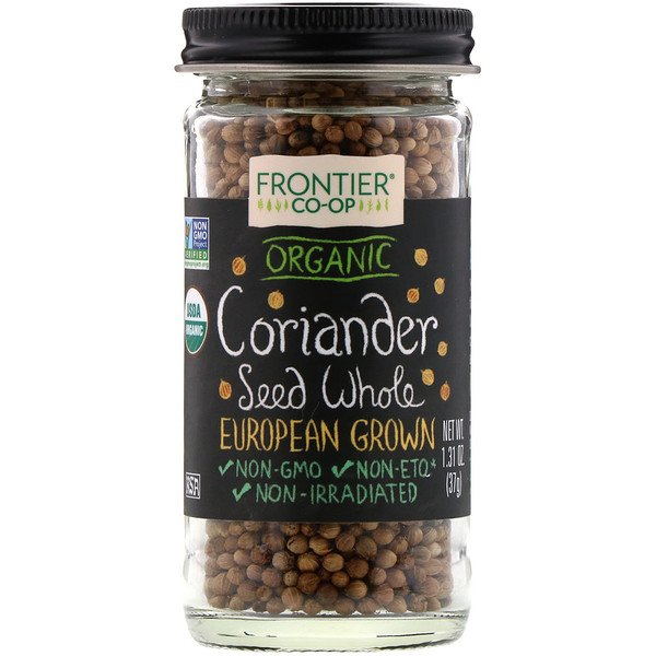 Frontier Natural Products, Organic Coriander Seed Whole, European Grown, 1.31 oz (37 g) (Discontinued Item)