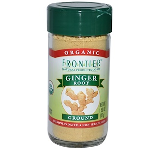 Frontier Natural Products, 유기농 생강 뿌리, 가루, 1.50 oz (42 g)