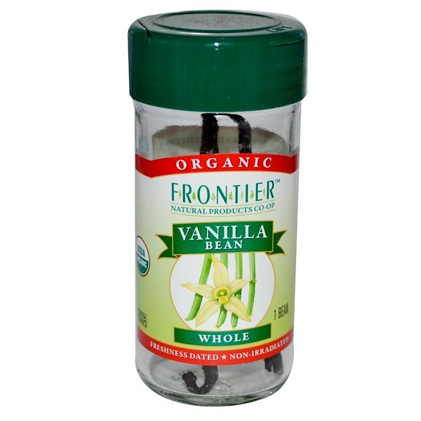 Frontier Natural Products, Organic Vanilla Bean, Farm Grown, Whole, 1 Bean (Discontinued Item)