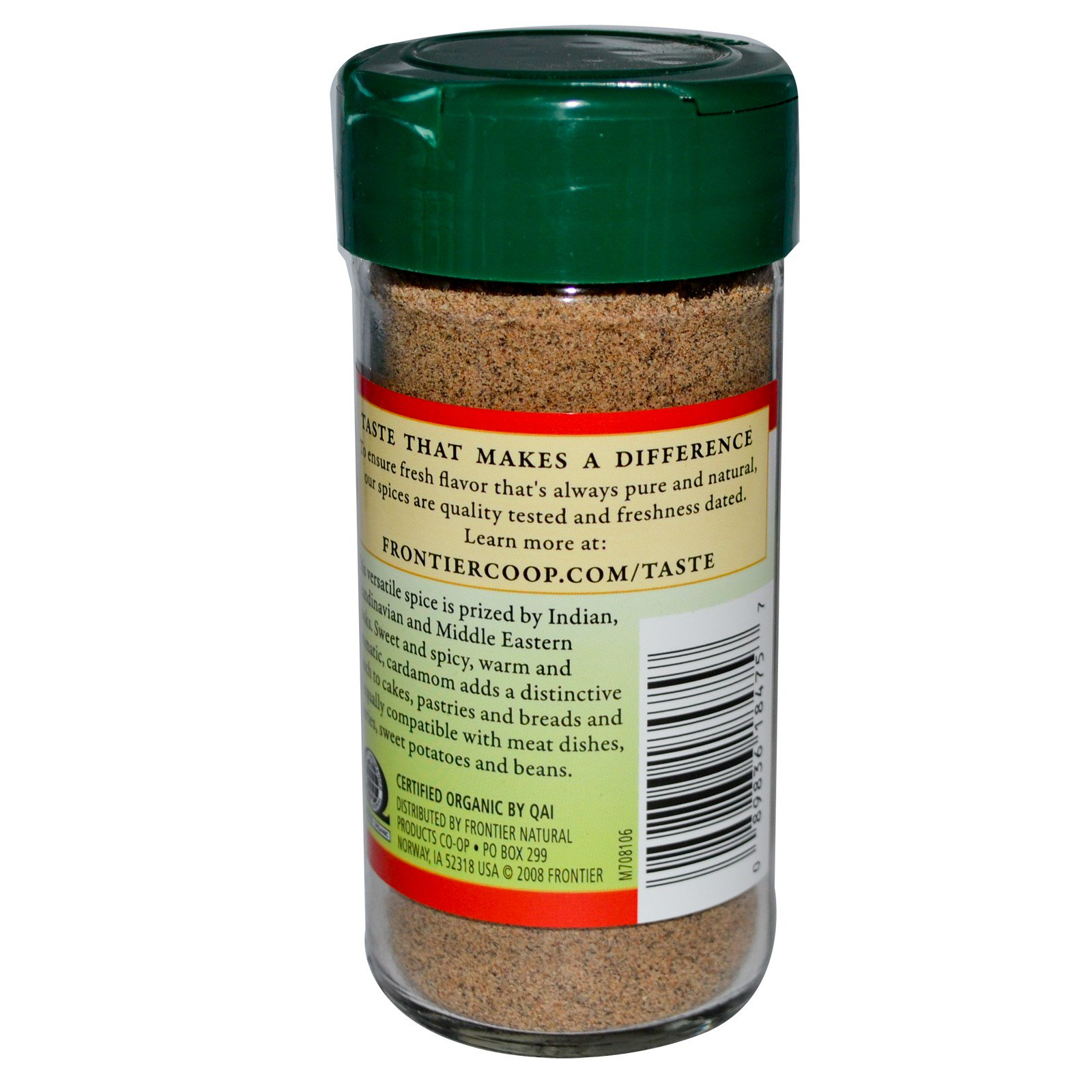 Frontier Natural Products, Органические семена кардамона, молотые, 2,08 унции (58 г)