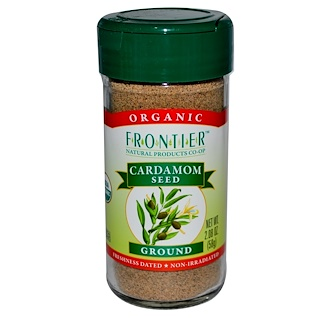 Frontier Natural Products, Organic Cardamom Seed, Ground, 2.08 oz (58 g)