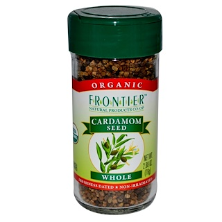 Frontier Natural Products, Organic Cardamom Seed, Whole, 2.68 oz (76 g)