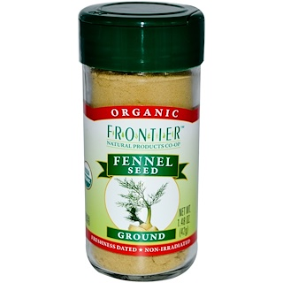 Frontier Natural Products, Organic Fennel Seed, Ground, 1.48 oz (42 g)