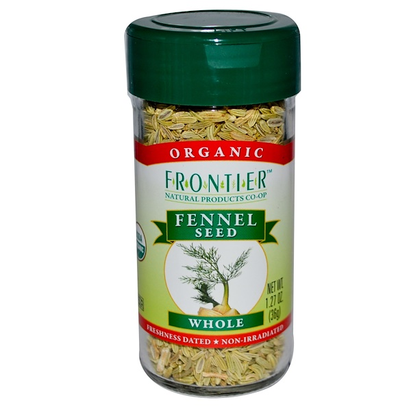 Frontier Natural Products, Organic Fennel Seed, Whole, 1.27 oz (36 g) (Discontinued Item)