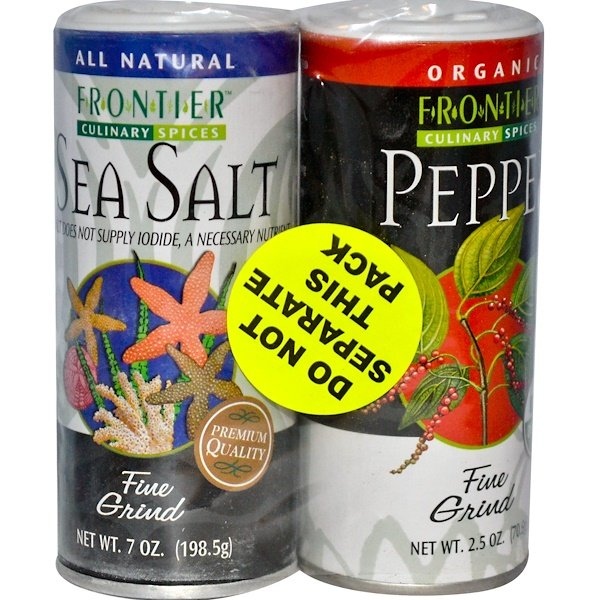 Frontier Natural Products, Culinary Spices, Salt & Pepper Combo Pack (Discontinued Item)