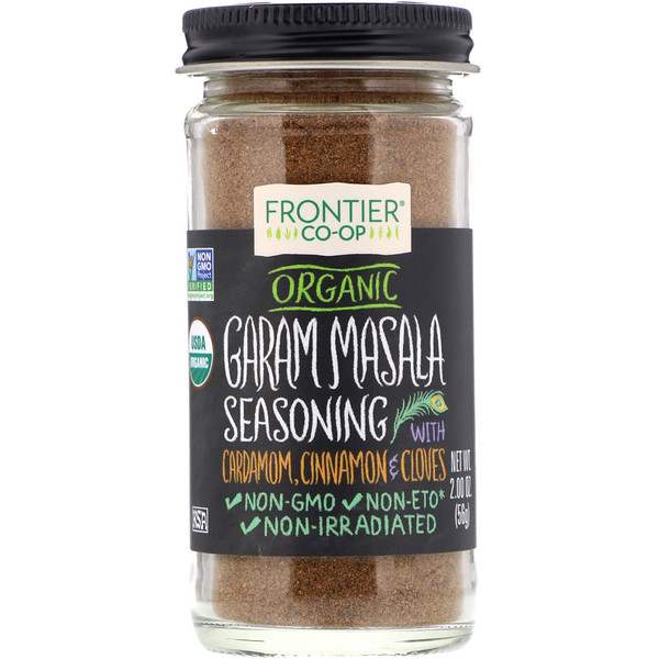 Frontier Natural Products, Organic Garam Masala Seasoning with Cardamon, Cinnamon & Cloves, 2.00 oz (56 g)