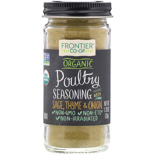 Frontier Natural Products, Organic Poultry Seasoning With Sage, Thyme & Onion, 1.20 oz (33 g)