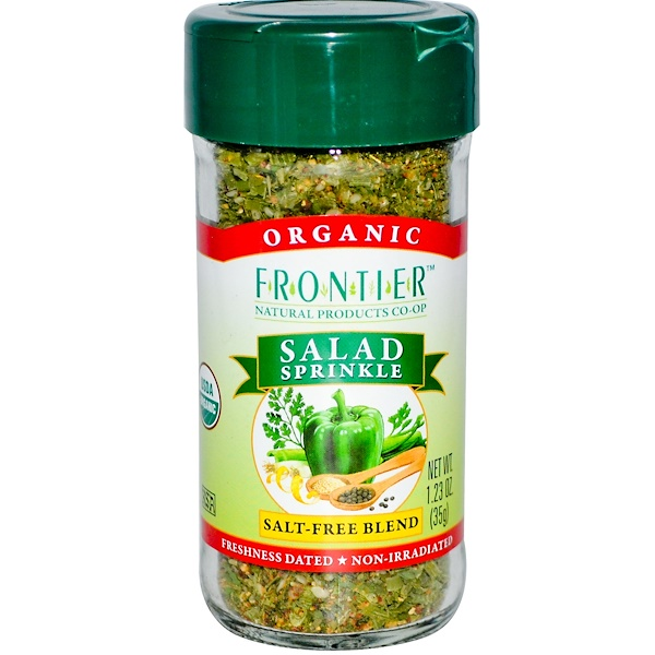 Frontier Natural Products, Organic Salad Sprinkle, Salt Free Blend, 1.23 oz (35 g) (Discontinued Item)
