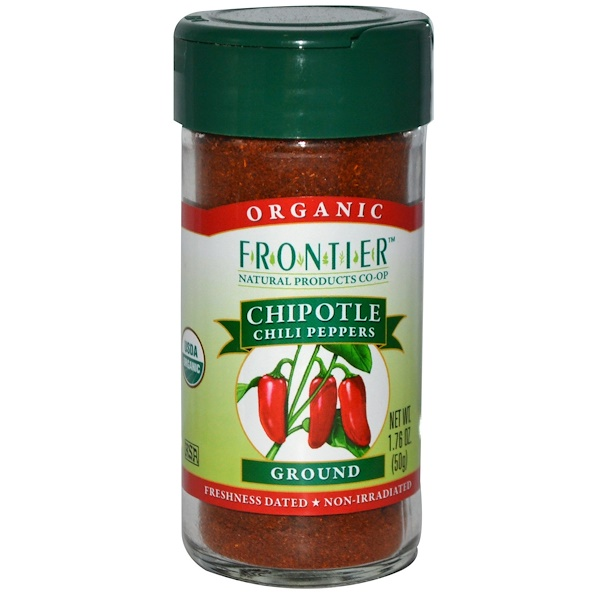 Frontier Natural Products, Organic Chipotle Chili Peppers, Ground, 1.76 oz (50 g) (Discontinued Item)