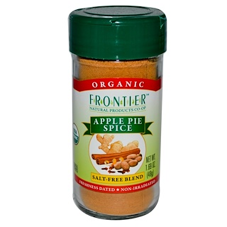 Frontier Natural Products, Organic, Apple Pie Spice, Salt-Free Blend, 1.69 oz (48 g)