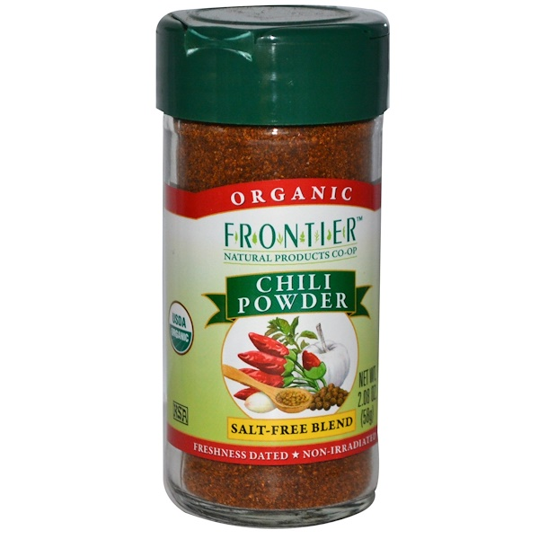 Frontier Natural Products, Organic Chili Powder, Salt-Free Blend, 2.08 oz (58 g) (Discontinued Item)