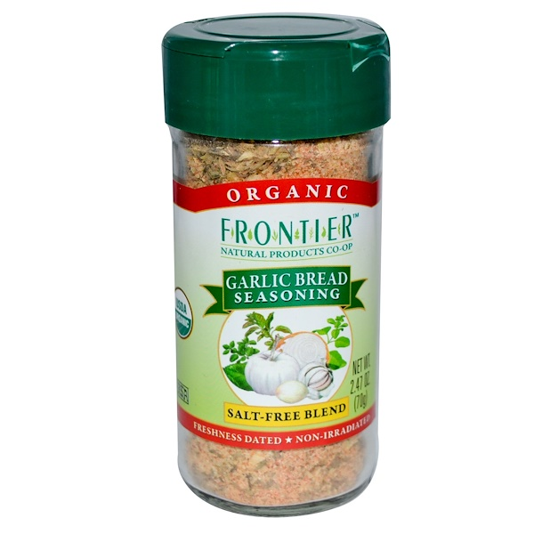 Frontier Natural Products, Organic Garlic Bread Seasoning, Salt-Free Blend, 2.47 oz (70 g) (Discontinued Item)