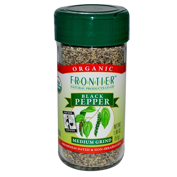 Frontier Natural Products, Organic Black Pepper, Medium Grind, 1.80 oz (51 g) (Discontinued Item)