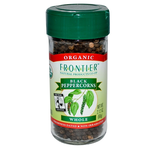 Frontier Natural Products, Organic Fair Trade Certified Black Peppercorns, Whole, 2.12 oz (60 g) (Discontinued Item)