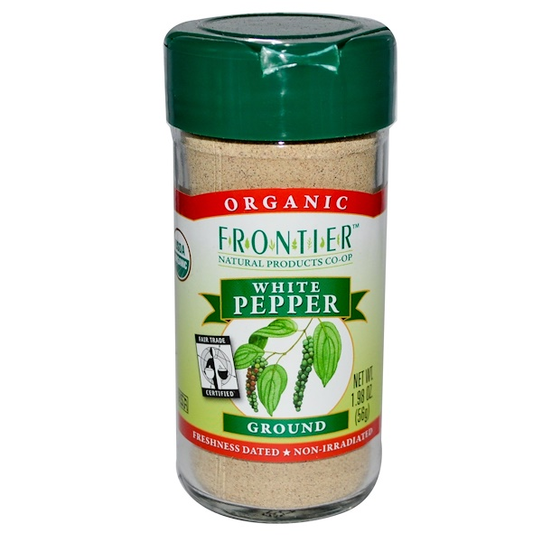 Frontier Natural Products, Organic White Pepper, Ground, 1.98 oz (56 g) (Discontinued Item)