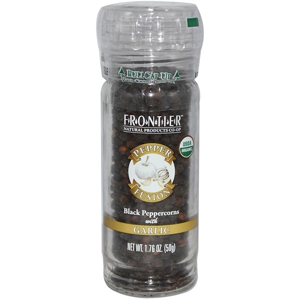 Frontier Natural Products, Pepper Fusion, Black Peppercorns with Garlic, 1.76 oz (50 g) (Discontinued Item)