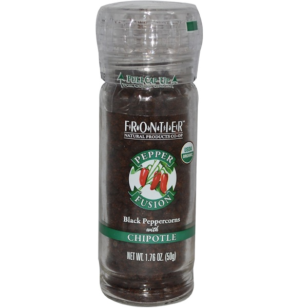 Frontier Natural Products, Pepper Fusion, Black Peppercorns with Chipotle, 1.76 oz (50 g) (Discontinued Item)