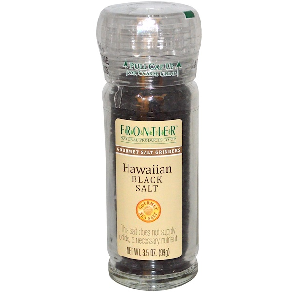 Frontier Natural Products, Hawaiian Black Salt, Gourmet Salt Grinder, 3.5 oz (99 g) (Discontinued Item)