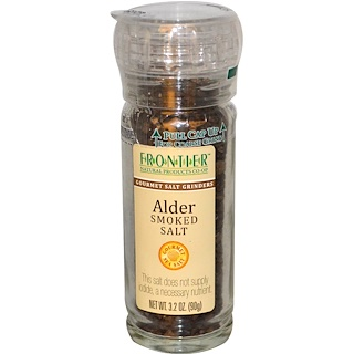 Frontier Natural Products, Alder Smoked Salt, Gourmet Salt Grinder, 3.2 oz (90 g)