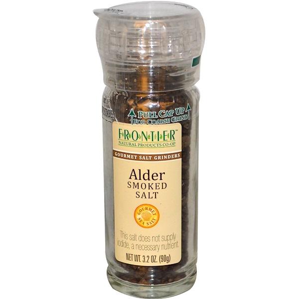 Frontier Natural Products, Alder Smoked Salt, Gourmet Salt Grinder, 3.2 oz (90 g)