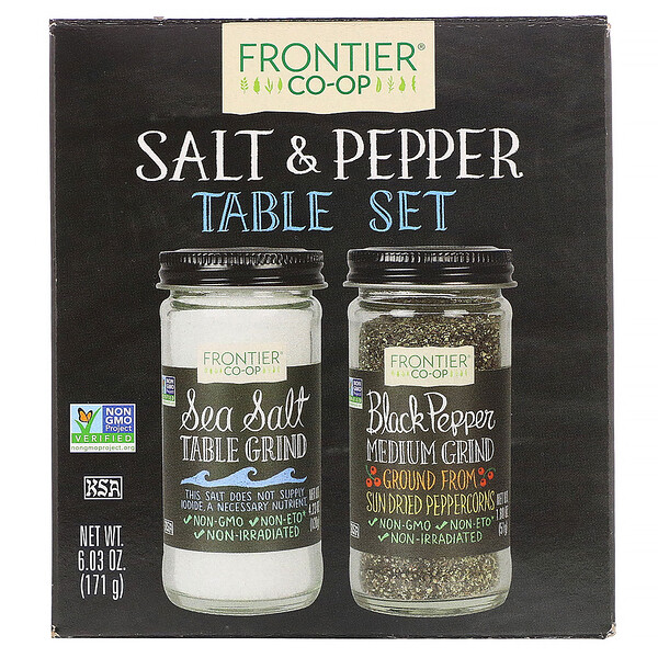 Frontier Natural Products, Salt & Pepper Table Set, 6.03 oz (171 g)