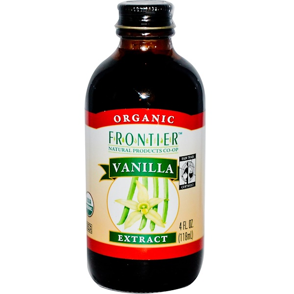 Frontier Natural Products, Organic Fair Trade Vanilla Extract, Farm Grown , 4 fl oz (118 ml) (Discontinued Item)