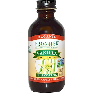Frontier Natural Products, Organic, Vanilla Flavoring, Non-Alcoholic, 2 fl oz (59 ml)