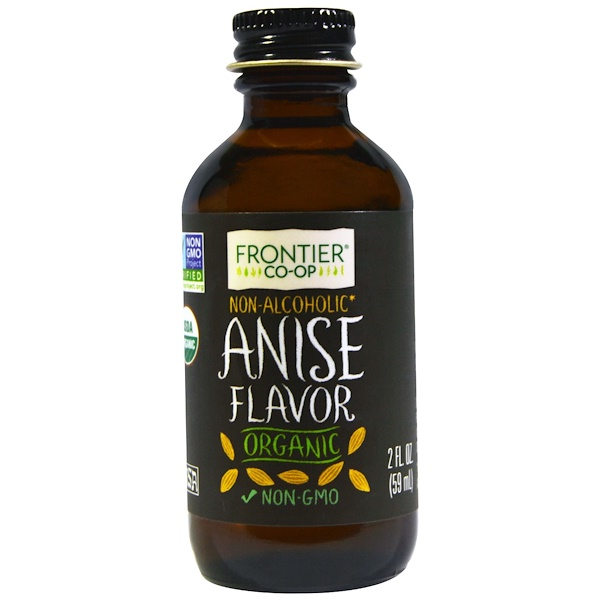 Frontier Natural Products, Organic Anise Flavor, Non-Alcoholic, 2 fl oz (59 ml) (Discontinued Item)