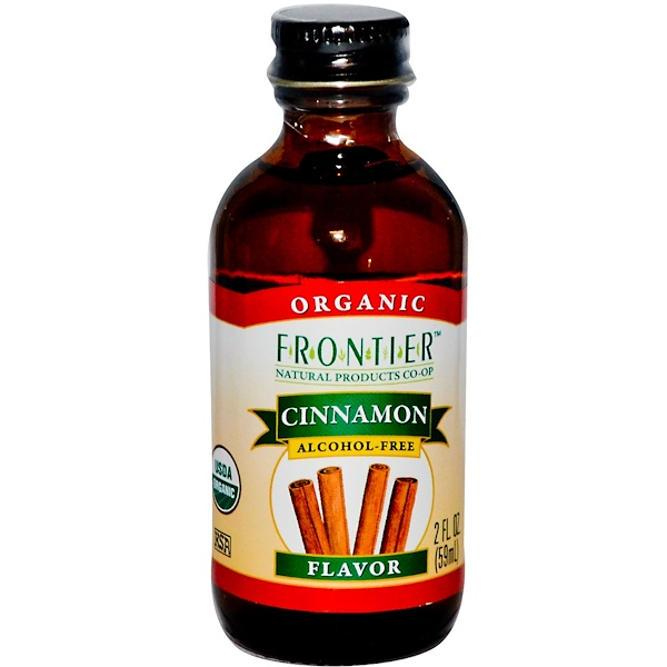 Frontier Natural Products, Organic Cinnamon Flavor, Alcohol-Free, 2 fl oz (59 ml) (Discontinued Item)