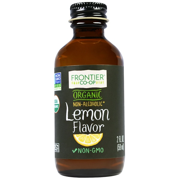 Frontier Natural Products, Organic Lemon Flavor, Non-Alcoholic, 2 fl oz (59 ml)
