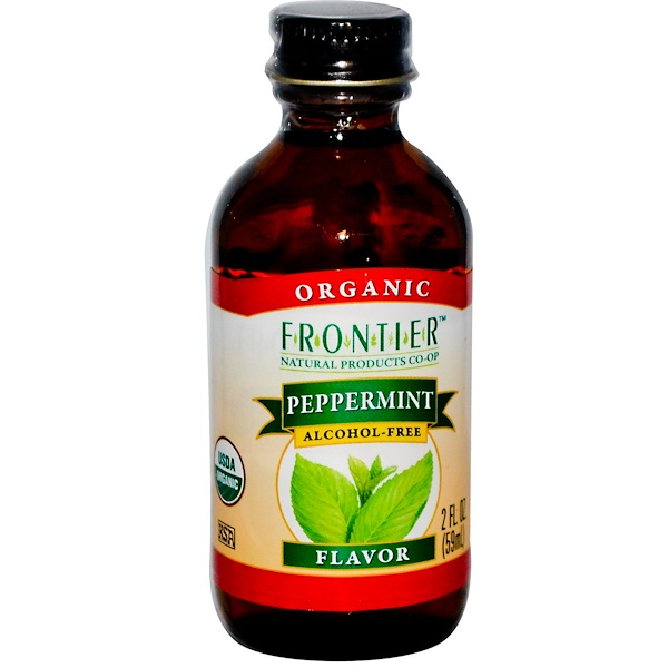 Frontier Natural Products, Organic Peppermint Flavor, Alcohol-Free, 2 fl oz (59 ml)