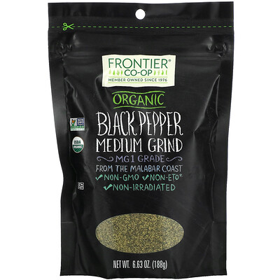 Frontier Natural Products Organic Black Pepper, Medium Grind, 6.63 oz (188 g)