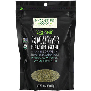 Frontier Natural Products, Organic Black Pepper, Medium Grind, 6.63 oz (188 g)
