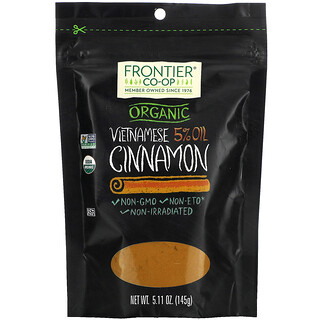 Frontier Natural Products, Organic Vietnamese 5% Oil Cinnamon, 5.11 oz (145 g)