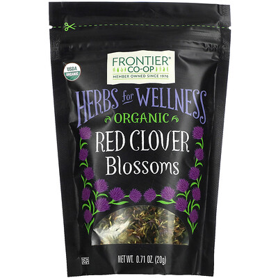 Купить Frontier Natural Products Organic Red Clover Blossoms, 0.71 oz (20 g)