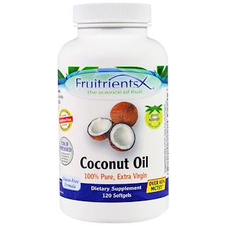 Fruitrients, Coconut Oil, 100% Pure, Extra Virgin, 120 Softgels