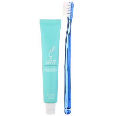 First Salt After Rain Grey Salt Toothbrush & Toothpaste Set, Dark Blue, 1 Kit