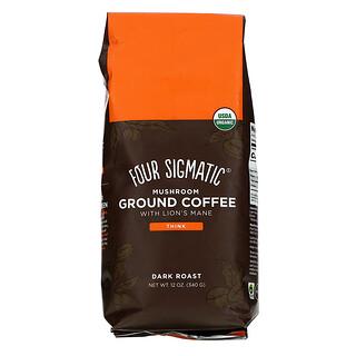 Four Sigmatic, قهوة مطحونة بالفطر مع فطر لبدة الأسد، محمصة داكنة، 12 أونصة (340 جم)