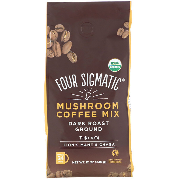 Four Sigmatic, Mushroom Coffee Mix, Dark Roast Ground, 12 oz (340 g)