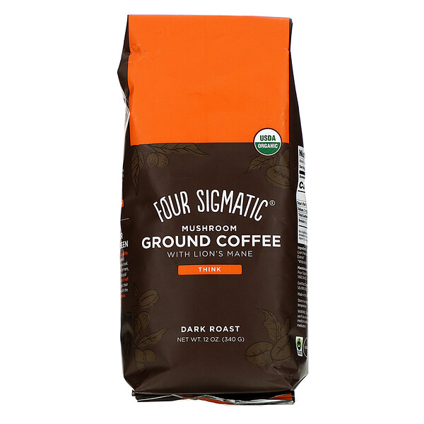 Four Sigmatic, Mushroom Coffee Mix، داكن محمص مطحون، 12 أونصة (340 جم)