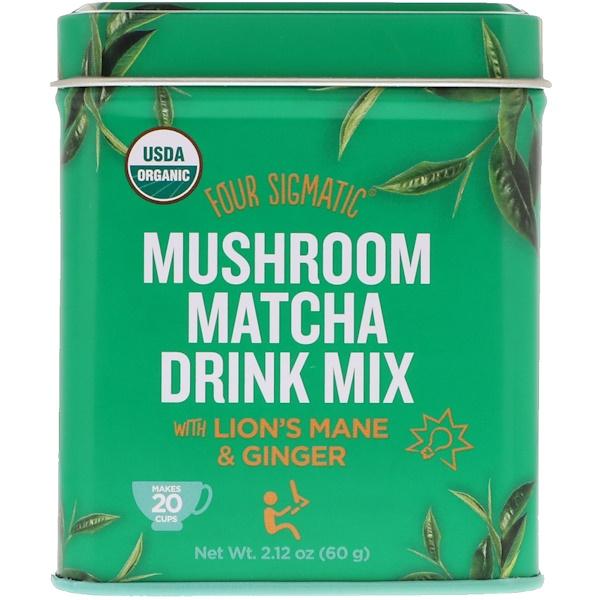Four Sigmatic, 有機蘑菇抹茶飲料,混合猴頭菇和生薑,2、12盎司(60克)