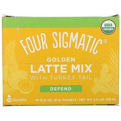 Купить Four Sigmatic Golden Latte Mix with Turkey Tail, 10 Packets, 0.21 oz (6 g) Each