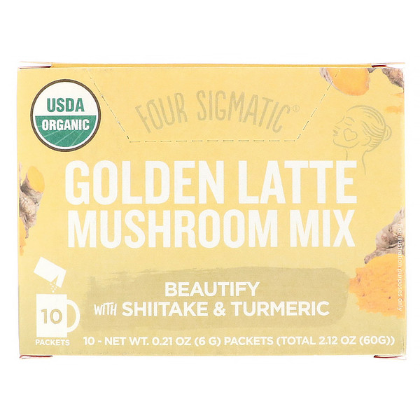 Four Sigmatic, Golden Latte, Mushroom Mix, 10 Packets, 0.21 oz (6 g) Each